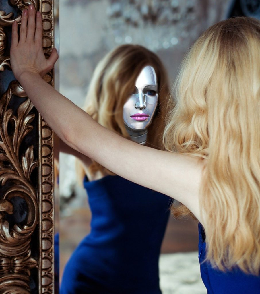 Woman With a Mask on Looking into a Mirror